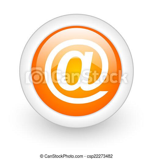 email orange glossy web icon on white background - csp22273482