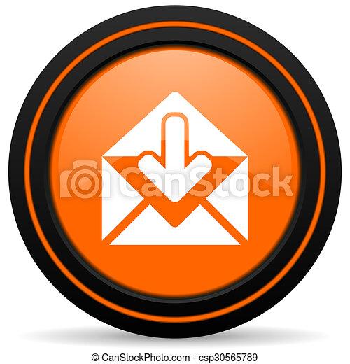 email orange glossy web icon on white background - csp30565789