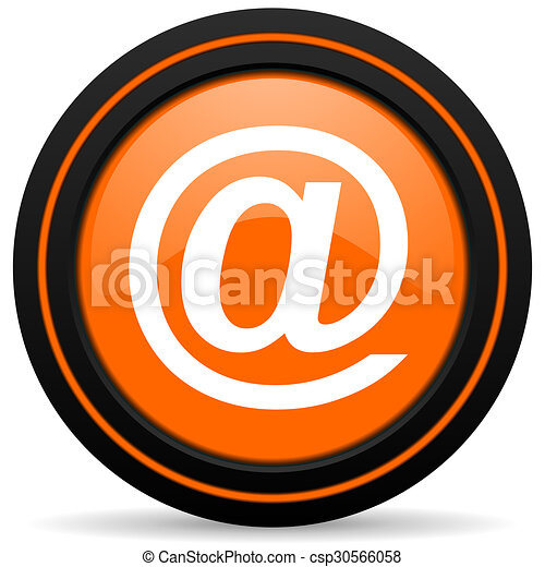 email orange glossy web icon on white background - csp30566058
