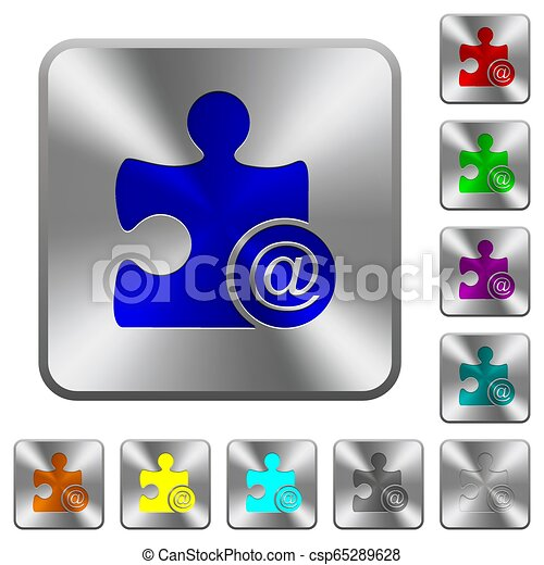 Email plugin rounded square steel buttons - csp65289628
