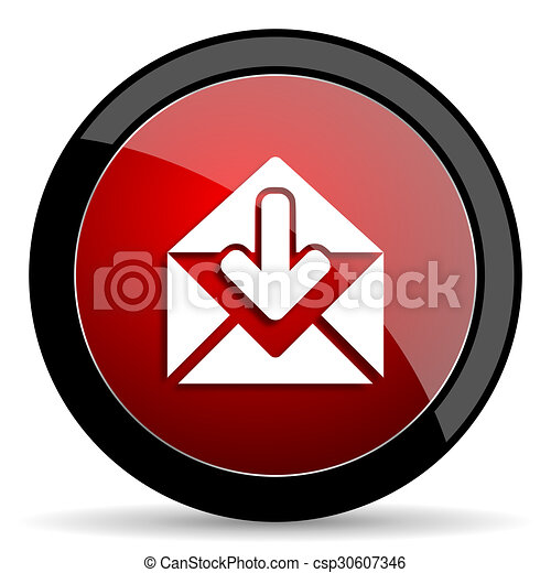 email red circle glossy web icon on white background - set440 - csp30607346