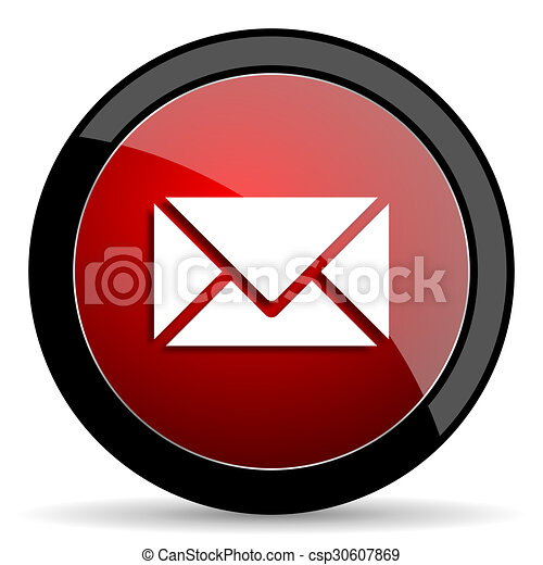 email red circle glossy web icon on white background - set440 - csp30607869