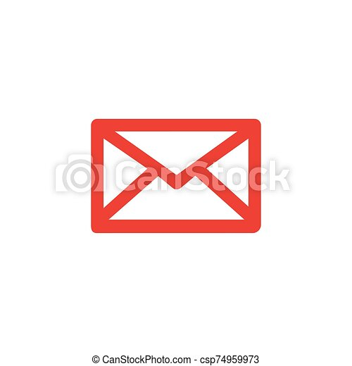 Email Red Icon On White Background. Red Flat Style Vector Illustration - csp74959973