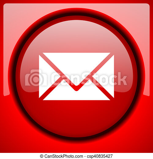 email red icon plastic glossy button - csp40835427