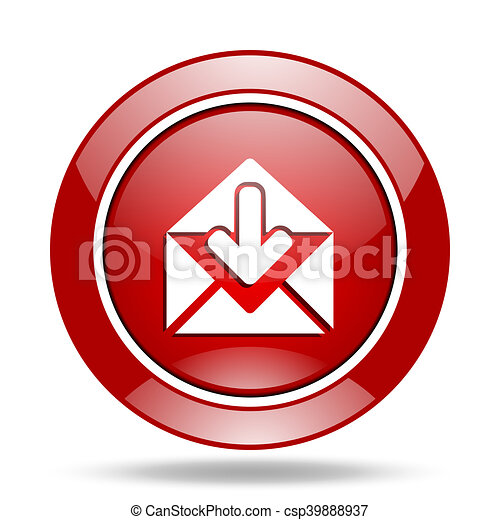 email red web glossy round icon - csp39888937