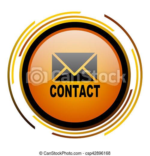 email round design orange glossy web icon - csp42896168