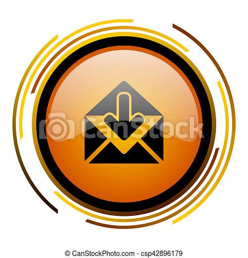 email round design orange glossy web icon - csp42896179