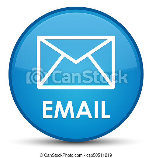 Email special cyan blue round button - csp50511219