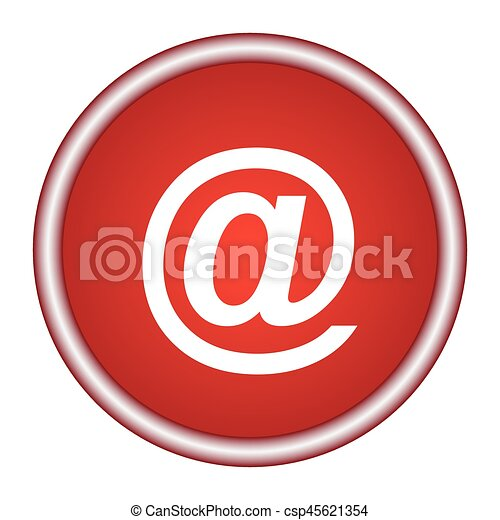 Email symbol. Round vector red icon. - csp45621354
