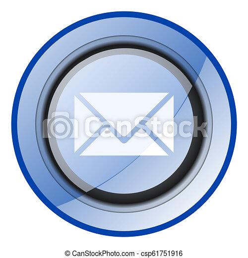 Email vector icon. Message blue glossy button. Letter web symbol. - csp61751916