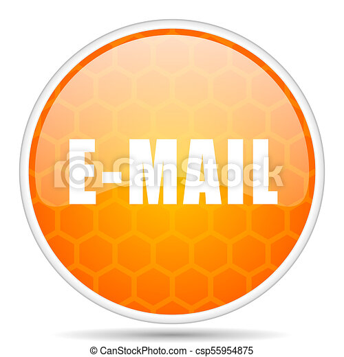 Email web icon. Round orange glossy internet button for webdesign. - csp55954875
