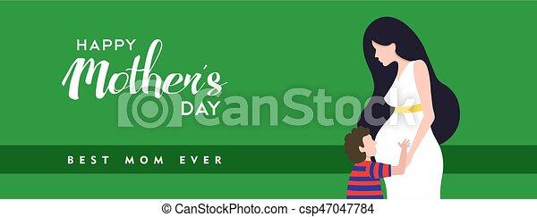 Feliz día de las madres embarazadas ilustración pancarta de la madre - csp47047784
