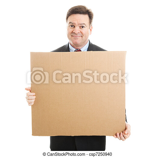 Embarrassed Businessman with Cardboard Sign - csp7250940