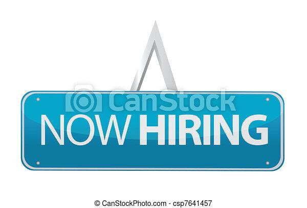 embauche, maintenant, conception, illustration, signe - csp7641457