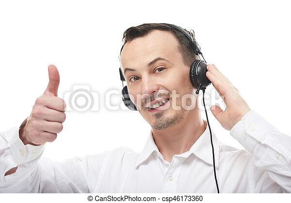 ember, beszél, fejhallgató - csp46173360