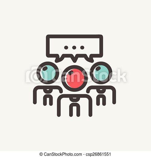 emberek, híg, csevegés, egyenes, buborék, ikon - csp26861551