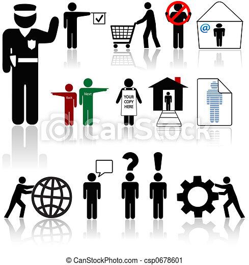 emberek, jelkép, ikonok, -, élőlények, emberi - csp0678601