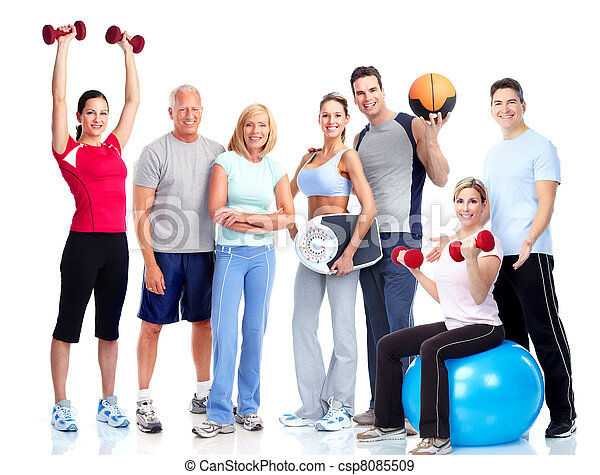 emberek., tornaterem, fitness., mosolygós - csp8085509