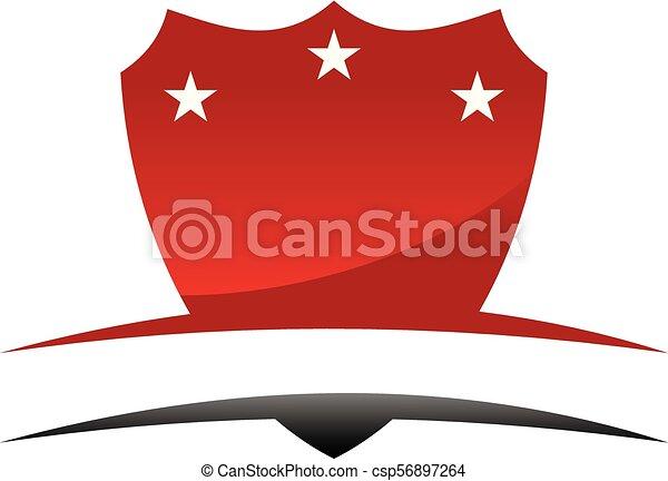 emblème, bouclier, gabarit, vide - csp56897264