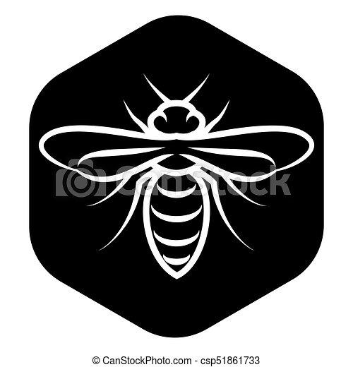 Emblème Fond Abeille Noir Gabarit Blanc