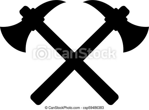 emblème, haches, traversé, travail, retro - csp59486383