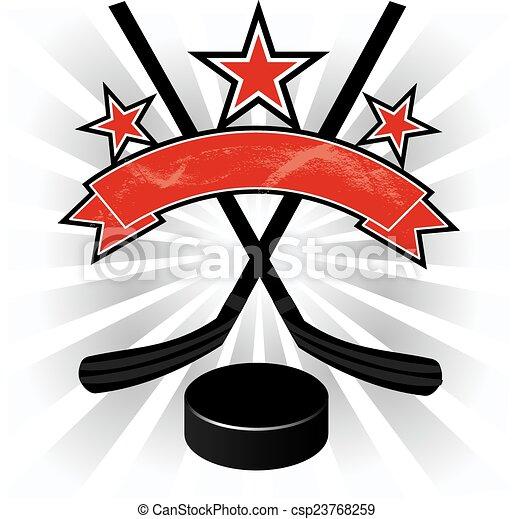 emblème, illustrati, conception, hockey, glace - csp23768259
