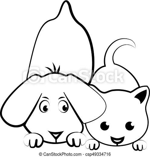 Emblem Kocka Karikatura Pes Silueta Pes Kocka Vektor Emblem