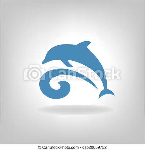 Emblem of a dolphin over the sea  - csp20059752