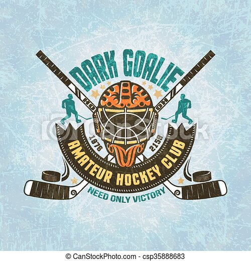 Emblem Of Hockey Team Goalie Mask Crossed Hockey Sticks Puck