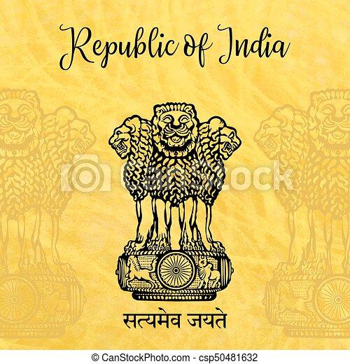 Emblem Of India Lion Capital Of Ashoka In Indian Flag Color Emblem