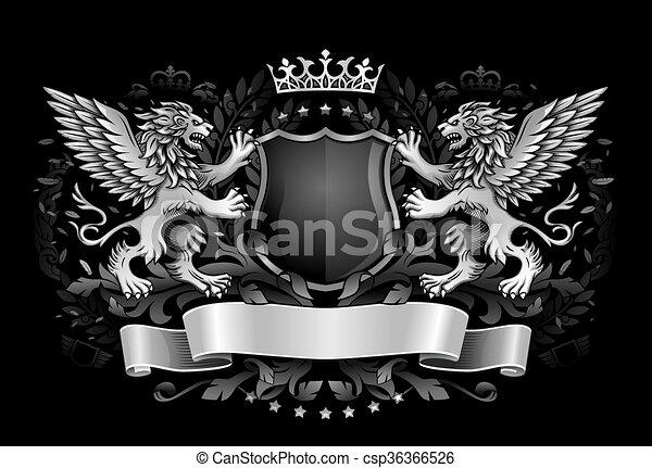 Gewonnene Löwen halten dunkles Emblem - csp36366526