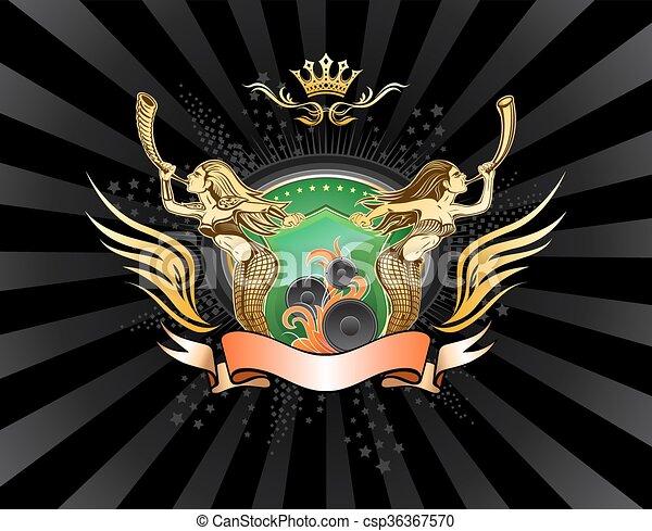 Winged Emblem mit zwei langhaarigen Mädchen, die den Schild halten - csp36367570
