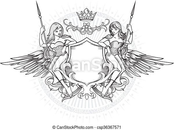 emblem, schutzschirm, lang-haare, geflügelt, mädels, zwei, besitz - csp36367571