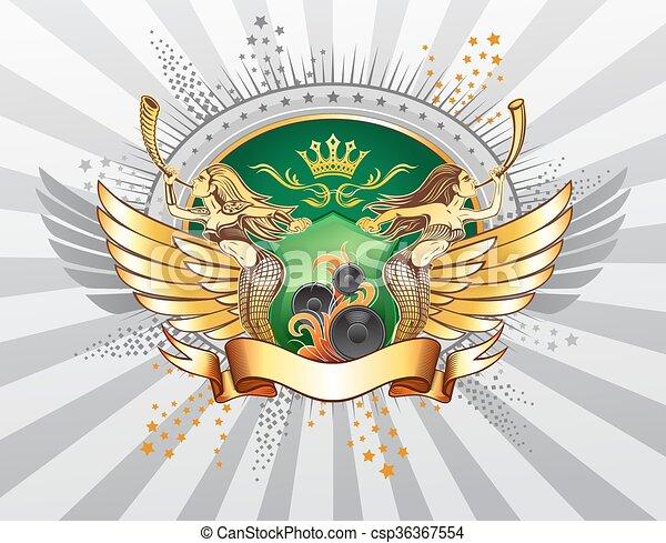 Winged Emblem mit zwei langhaarigen Mädchen, die den Schild halten - csp36367554