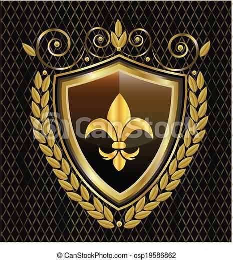 emblem, skydda, av, fleur, läsidor, logo - csp19586862