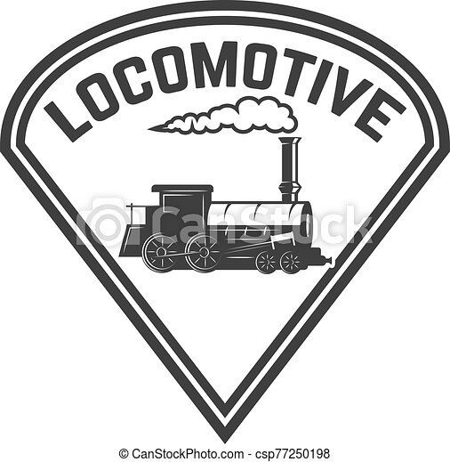 Emblem Template With Retro Train Rail Road Locomotive Design Element For Logo Label Emblem Sign Vector Illustration