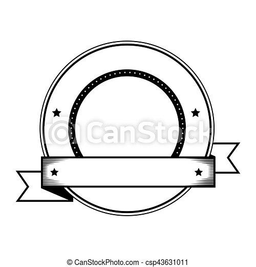 emblem with ribbon icon - csp43631011
