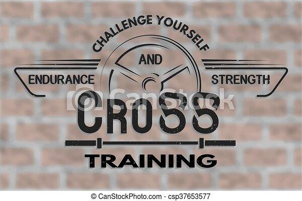 emblema, addestramento trasversale, style., vendemmia - csp37653577