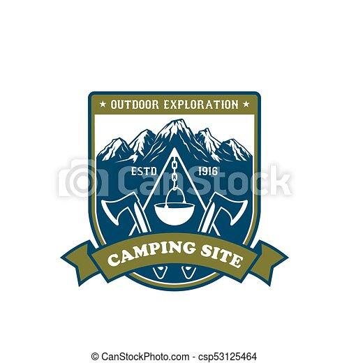emblema, ao ar livre, desenho, aventura, acampamento - csp53125464