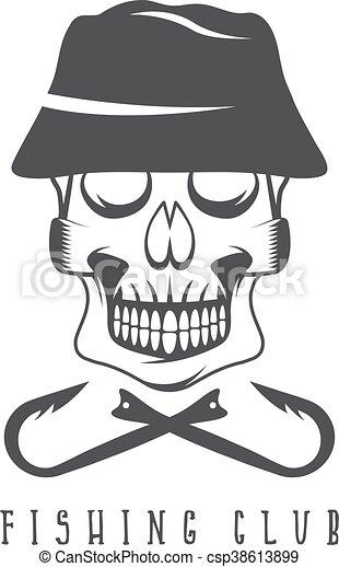 emblema, cráneo, club, panamá, sombrero pesquero - csp38613899