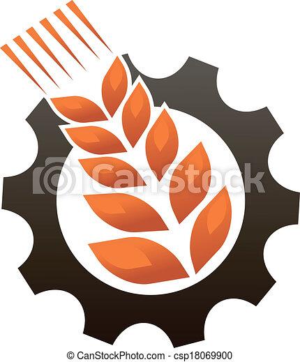 Emblema representando a la industria y la agricultura - csp18069900