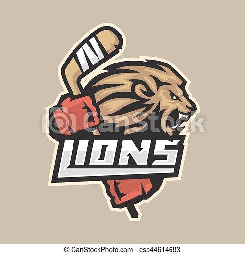 Emblema Leao Feroz Vara Hockey 10 Feroz Formato Ilustracao