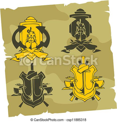 Emblema militar: vector fijado. - csp11885318
