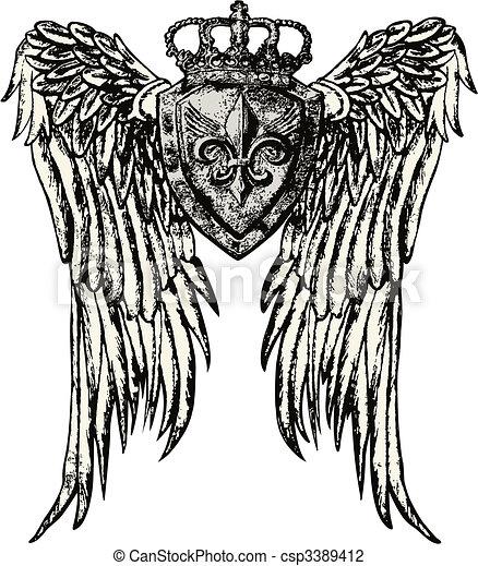 Un emblema real con tatuaje de ala - csp3389412