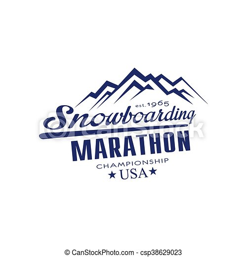 emblema, snowboarding, campeonato, desenho, maratona - csp38629023