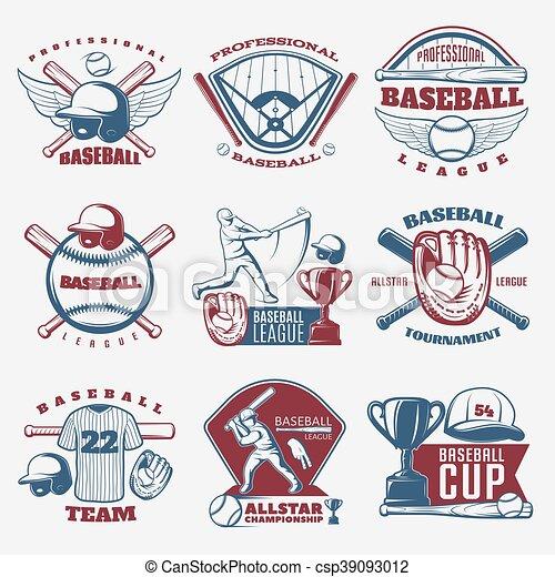 Emblemas, beisball, coloreado. Trofeo, torneos, coloreado, aislado ...