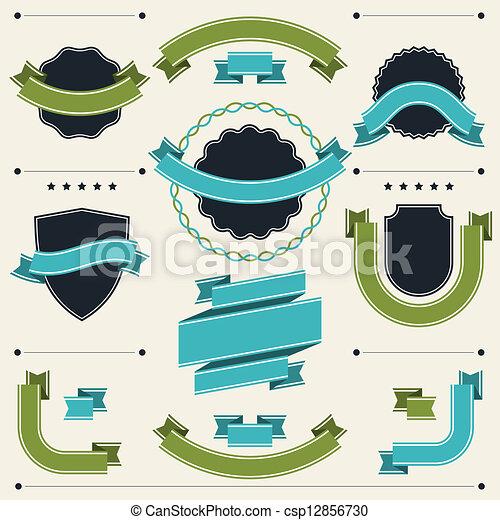 emblemas, elements., etiquetas, projeto fixo, retro, fitas - csp12856730