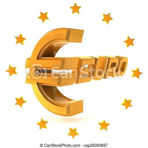 emblemat, dookoła, złoty, odizolowany, gwiazdy, tło, biały, euro - csp29393697