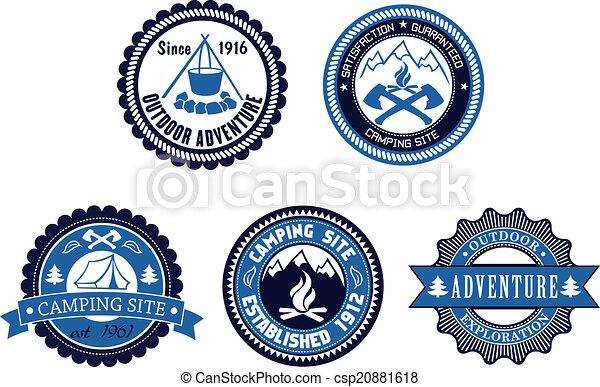 emblems, buiten, set, avontuur, kamperen - csp20881618