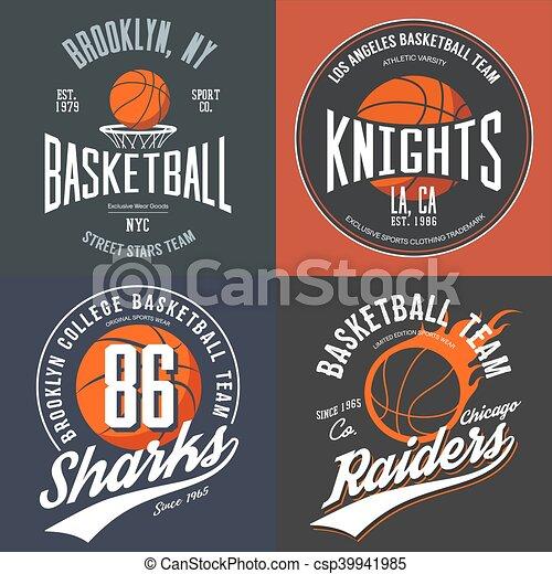 Diseño de camisetas para fans de baloncesto para el equipo de la calle Brooklyn de Nueva York, equipo de caballeros universitarios y saqueadores de Chicago con emblemas de pelotas. Puede usarse como pancarta en ropa deportiva o logotipo deportivo - csp39941985
